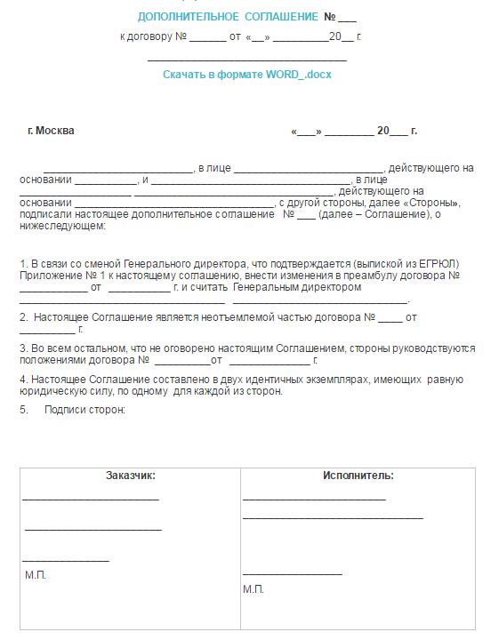 Доп соглашение о смене подписанта образец